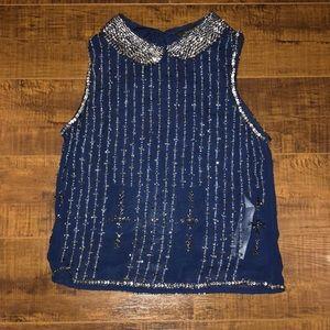 Navy beaded Zara top